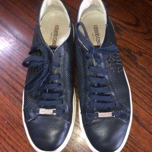 Roberto Cavalli Men's Navy Round Toe Leather shoes